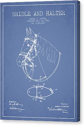 Bridle Halter Patent From 1920 - Light Blue Canvas Print