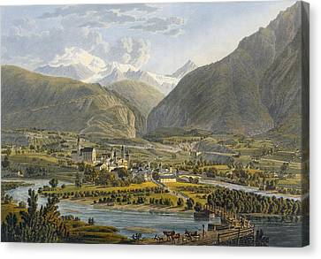 Brig On The Rhone, Bernese Alps Canvas Print by Swiss School
