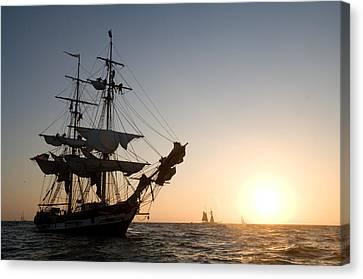 Brig Pilgrim At Sunset Canvas Print