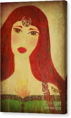 Brighid Celtic Goddess Folk Canvas Print by Sacred  Muse