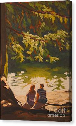 Canvas Print featuring the painting Bright Angel Moment by Janet McDonald