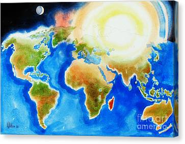 Bright Blue World Map In Watercolor With Sunshine And Moon  Canvas Print by Kip DeVore