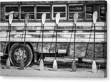 Hdr Landscape Canvas Print - Bright Colored Paddles And Vintage Woodie Surf Bus - Florida - Black And White by Ian Monk