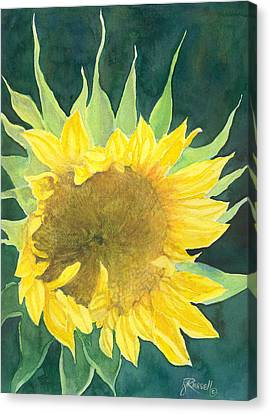 Bright Colorful Sunflower Watercolor Canvas Print