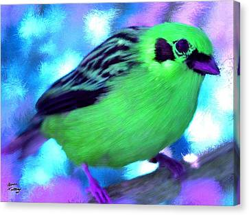 Bright Green Finch Canvas Print