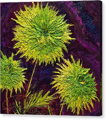 Bright Green Mums Canvas Print by Paris Wyatt Llanso