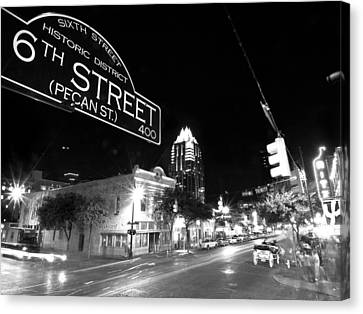Street Canvas Print - Bright Lights At Night by John Gusky