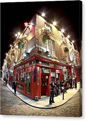 Canvas Print featuring the photograph Bright Lights Of Temple Bar In Dublin Ireland by Mark E Tisdale