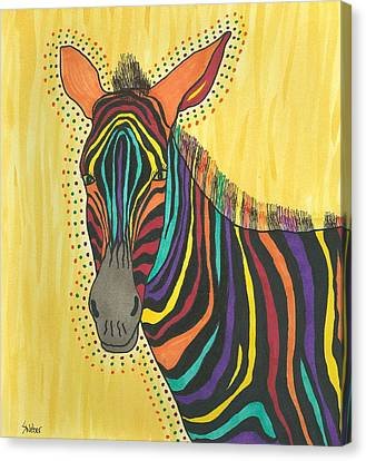 Canvas Print featuring the painting Bright Lite African Zebra  by Susie Weber