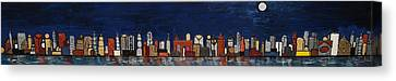 Bright Moon Over The Hudson Canvas Print