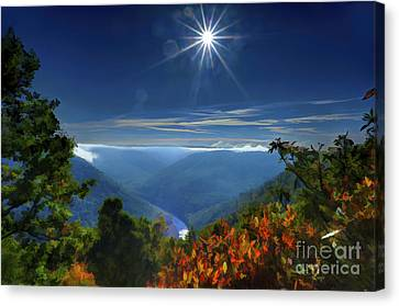 Bright Sun In Morning Cheat River Gorge Canvas Print by Dan Friend