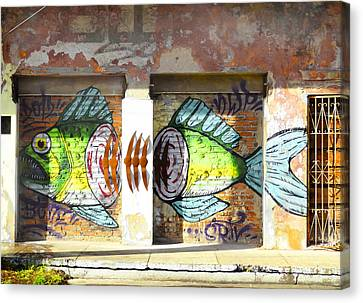 Brightly Colored Fish Mural Canvas Print