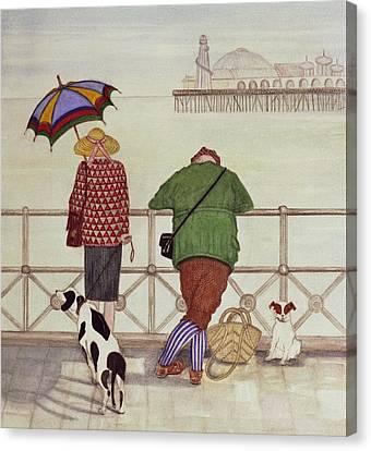 Brighton Pier, 1986 Watercolour On Paper Canvas Print by Gillian Lawson