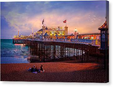 Canvas Print featuring the photograph Brighton's Palace Pier At Dusk by Chris Lord
