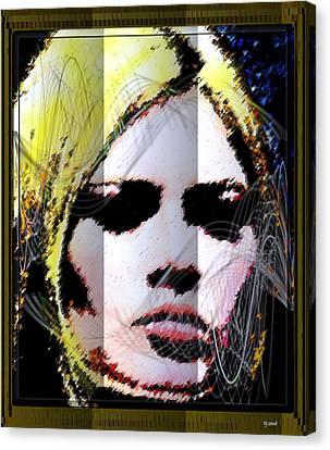 Canvas Print featuring the digital art Brigitte Bardot by Daniel Janda