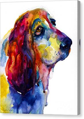 Watercolor Pet Portraits Canvas Print - Brilliant Basset Hound Watercolor Painting by Svetlana Novikova