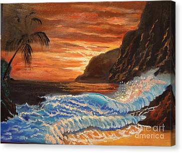 Brilliant Hawaiian Sunset 1 Canvas Print by Jenny Lee