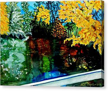 Canvas Print featuring the painting Brilliant Mountain Colors In Reflection by Lil Taylor