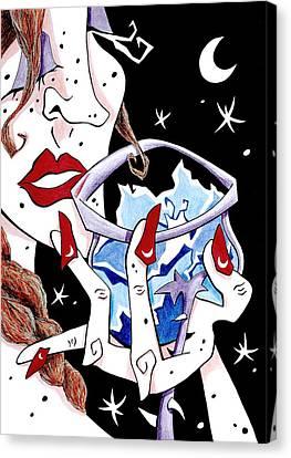 Brindis - Cata De Vino - Mujer - Arte Y Seduccion Canvas Print by Arte Venezia