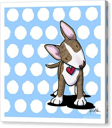 Brindle Bully On Dotted Blue Canvas Print by Kim Niles