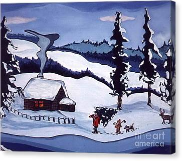 Canvas Print featuring the painting Bringing Home The Tree by Joyce Gebauer