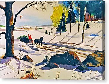 Bringing Home The Tree Canvas Print by Raymond Edmonds