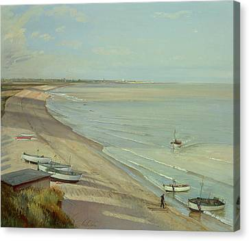 Bringing The Catch Ashore Canvas Print by Timothy Easton