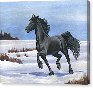 Canvas Print featuring the painting Brisk Trot by Sheri Gordon