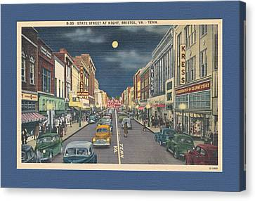 Bristol At Night In The 1940's Canvas Print by Denise Beverly