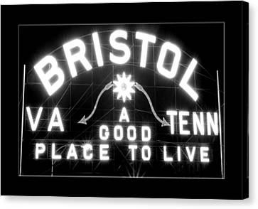 Bristol Virginia Tennesse Slogan Sign Canvas Print by Denise Beverly