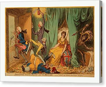 William Strode Canvas Print - Britannia Between Death And The Doctors, Gillray, James by English School