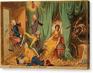 William Strode Canvas Print - Britannia Between Death And The Doctors, Gillray, James by Litz Collection