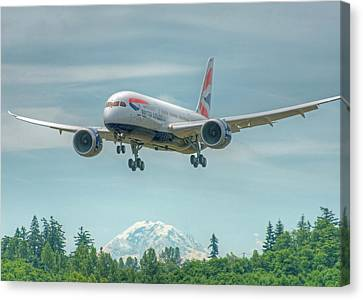 Canvas Print featuring the photograph British Airways 787 by Jeff Cook