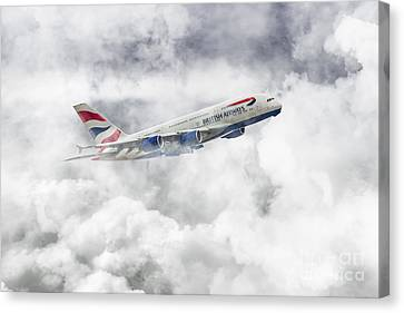 British Airways A380 Canvas Print by J Biggadike