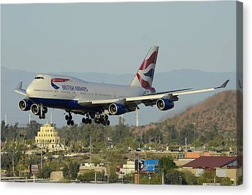 British Airways Boeing 747-436 G-bnlx Landing Phoenix Sky Harbor March 10 2015 Canvas Print by Brian Lockett