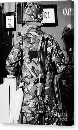 British Army Soldier In Riot Gear With Sa80 And Fire Extinguisher On Crumlin Road At Ardoyne Shops B Canvas Print