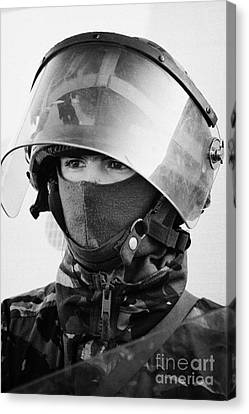 British Army Soldier With Helmet And Riot Gear On Crumlin Road At Ardoyne Shops Belfast 12th July Canvas Print