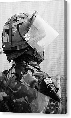 British Army Soldier With Helmet Riot Gear On Crumlin Road At Ardoyne Shops Belfast 12th July Canvas Print