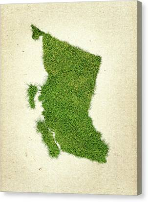 British Columbia Canvas Print - British Columbia Grass Map by Aged Pixel