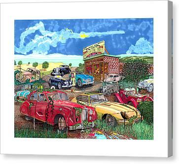 British Junkyard Field Of Dreams Canvas Print