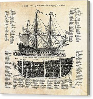 British Ships Of War  1728 Canvas Print by Daniel Hagerman