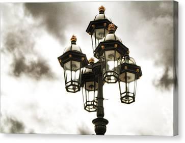 British Street Lamp Against Cloudy Sky Canvas Print