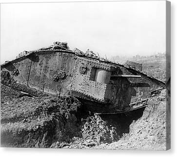 British Tank Crossing A Trench Canvas Print by Underwood Archives