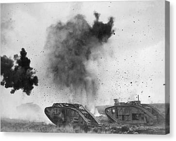 British Tanks In Wwi Battle Canvas Print by Underwood Archives