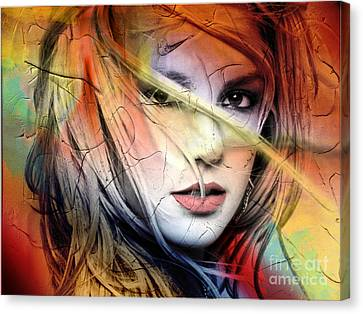 Beautiful Woman Face Canvas Print - Britney-spears by Mark Ashkenazi