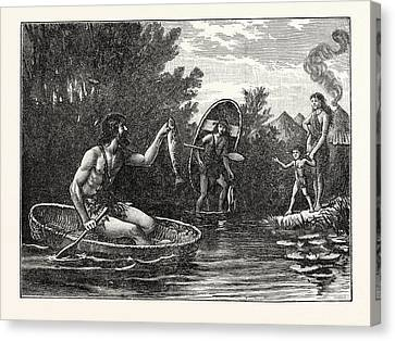 Britons With Coracle Canvas Print by English School