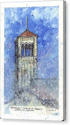 Canvas Print featuring the mixed media Broadway Church Tower by Tim Oliver