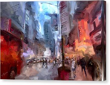 Ny Police Department Canvas Print - Broadway Nights by Evie Carrier