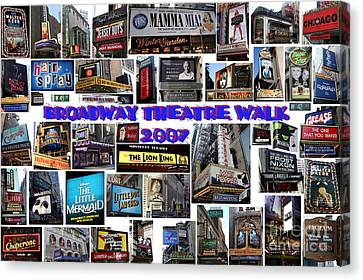 Broadway Theatre Walk 2007 Collage Canvas Print by Steven Spak