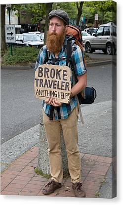 Broke Traveler Canvas Print by Matthew Bamberg